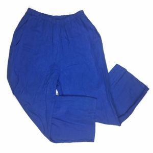 Flax P Small Blue 100% Linen Pants Wide Leg